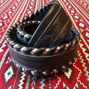 Top grain cowhide braided leather belt no buckle🤠